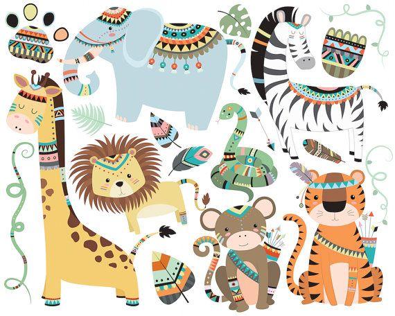 Selva animales tribales imágenes prediseñadas - Set de 19 300 DPI vectoriales, PNG y JPG archivos - lindo único, dibujado a mano Original Clip Art ilustraciones