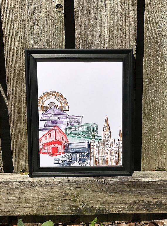 """New Orleans Wall Art   French Quarter, Uptown & Mid City New Orleans Canvas Paper Print 9x11"""""""