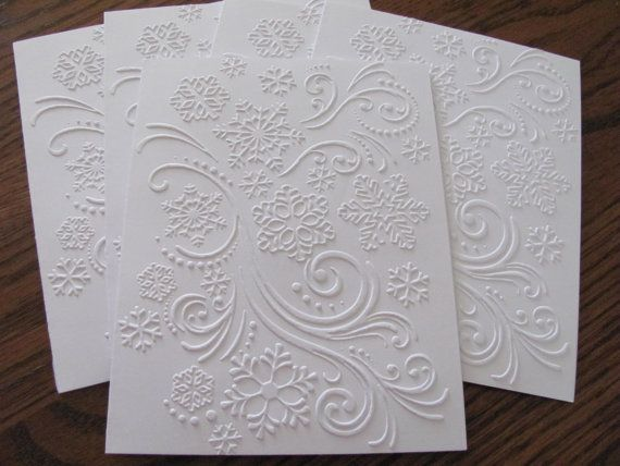 Snowflake Embossed Card Set of 6, White Embossed Christmas Card Set, White Embossed Snowflake Swirl Cards