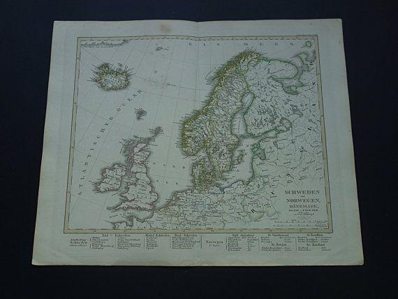 SCANDINAVIA antique map 1859 large original old by VintageOldMaps