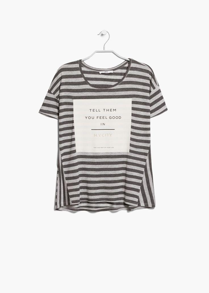 Striped mesage t-shirt