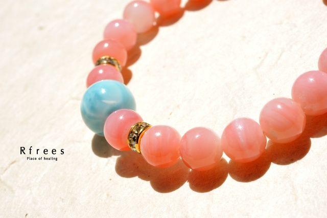 天然石 ブレスレット パワーストーン|ピンクオパール × ラリマー ブレスレット