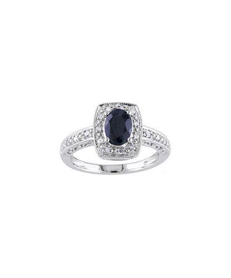 Black Sapphire  Diamond Slender Ring