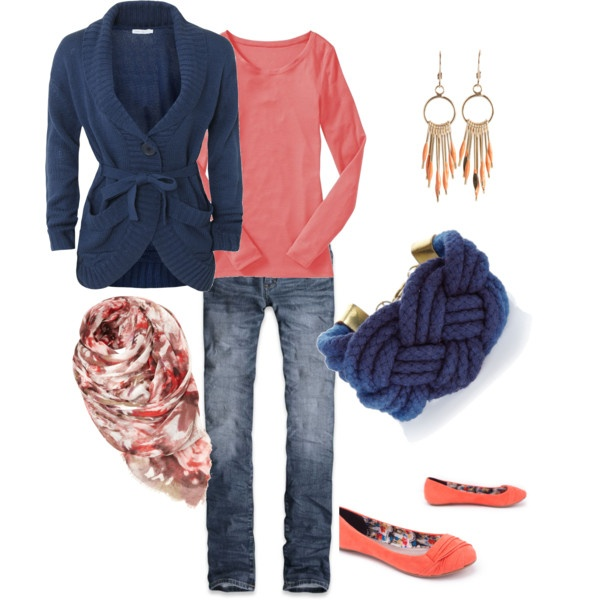 coral and navy, created by shauna-rogers.polyvore.com: Fashion, Style, Clothes, Clothing, Navy Outfits, Closet, Things, Coral Navy