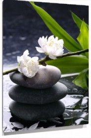Cuadro piedras y flor