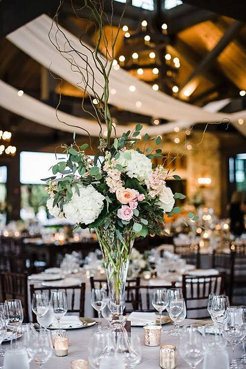 Black Tie-Meets-Rustic North Carolina Wedding at the Old Edwards Inn, Tall Centerpieces with Flowers and Greenery