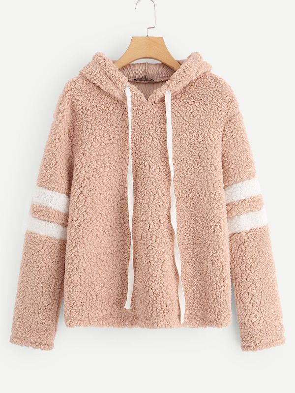 b8ca44f7b7 Striped Sleeve Teddy Hoodie,champion hoodie,womens hoodies on sale,womens  designer hoodies,#shein #sheinside #fashion #beautiful #tops #style #women  #Shoes ...