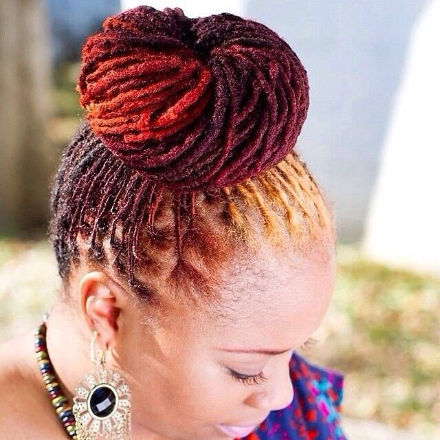 192 best natural hairstyles locs nothing dread about it images neat loc bun with fun color pmusecretfo Image collections