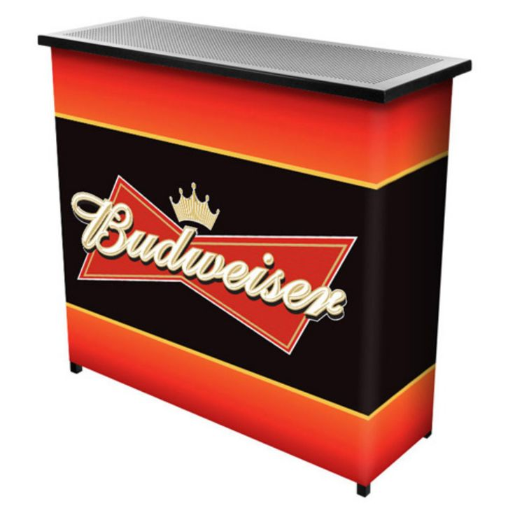 Trademark Budweiser Red/Black Portable Two Shelf Bar Table with Case - AB8000-BUD
