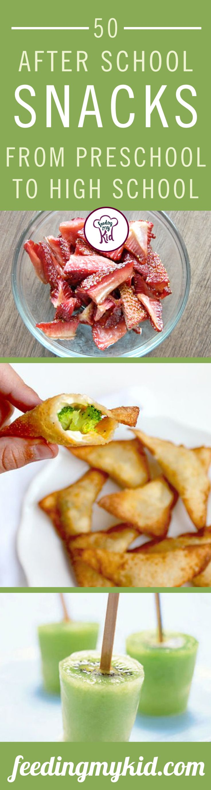 This is a must share! Try these after school snacks! They are a great way to ensure that your kids are eating right. From kiwi ice pops to banana split bites! This is a must share!   Feeding My Kid is a great website for healthy tips, recipes, and ways to eat clean. #fmk #recipes #snacks #afterschoolsnacks   This article is for you if you are looking for after school snacks for kids or healthy after school snacks.   Get tons of fresh and healthy ideas.