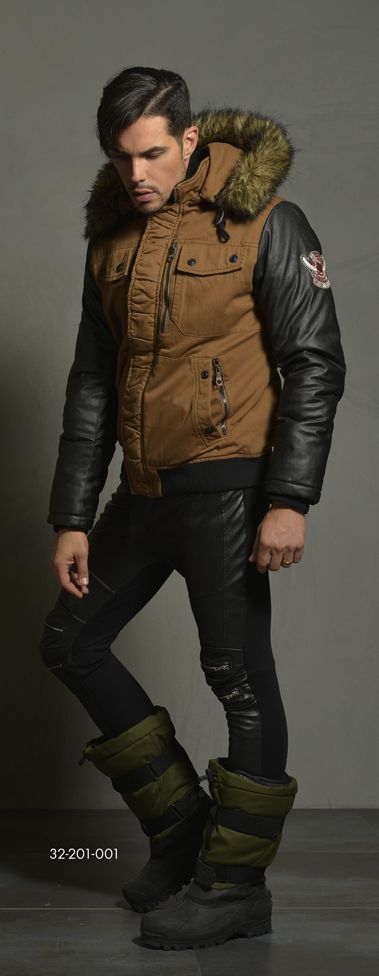 Men's jacket with detachable hood & fake fur around hood. Immitation leather quality on slvs portion. Rib quality on bottom portion & on sleeve cuff. www.biston.gr