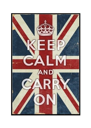 Union Jack - Keep Calm and Carry On - Lantern Press Artwork (12x18 Framed Gallery Wrapped Stretched Canvas), Multi