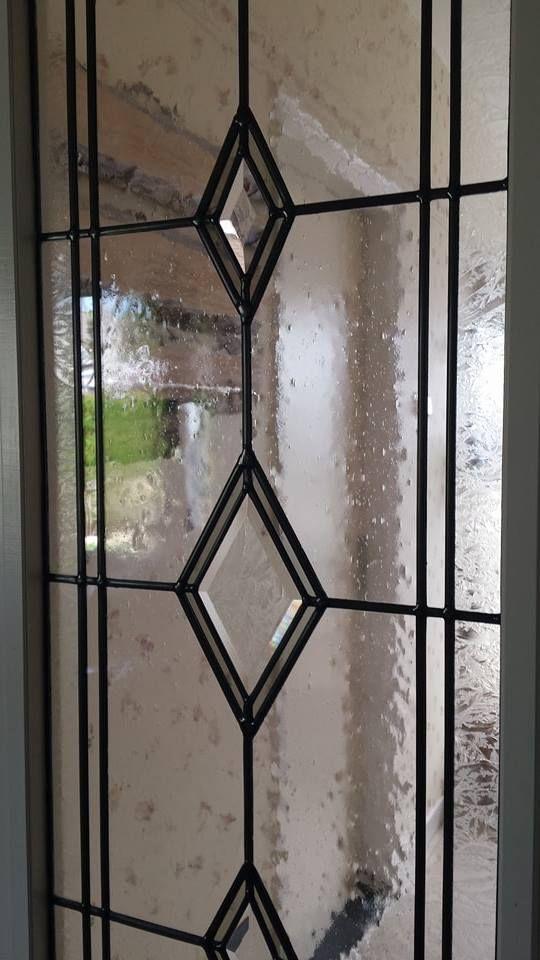 Glas-in-lood deur, facetten, verschillende maten lood. By RannDago.