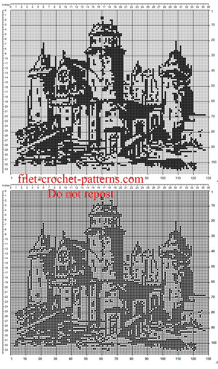 The castle free crochet filet painting