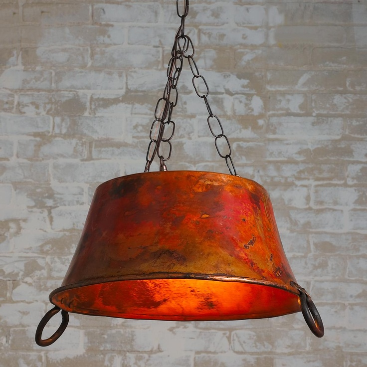 Oval Copper Bucket Lantern Chandelier