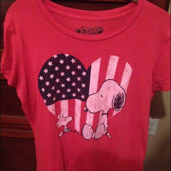 Old Navy Snoopy Shirt Cute T-shirt. This is labeled a large, but I think it fits a small to medium depending on your build. Would be more fitted for a large. Color more like first photo. Old Navy Tops