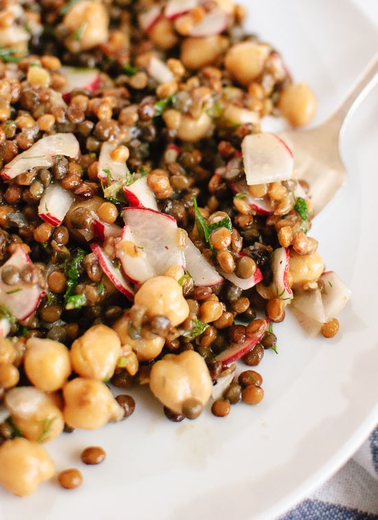 Lemony lentil and chickpea salad with radish and herbs recipe - cookieandkate.com