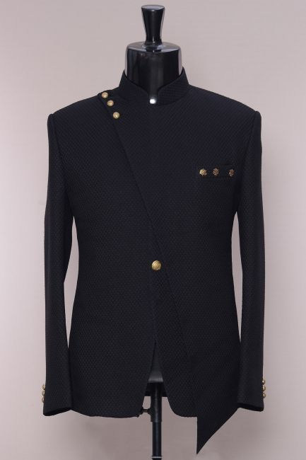Black Woven Italian Jodhpuri Suit-ST902