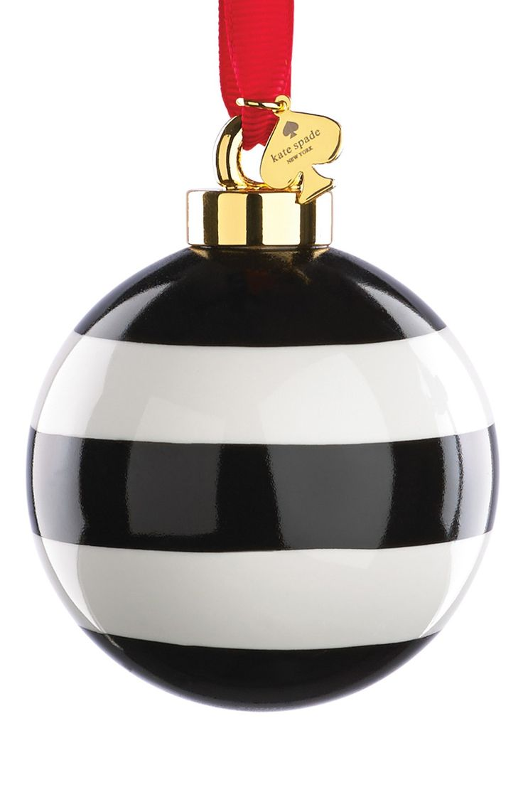 Kate spade new york stripe globe ornament black and for White tree red ornaments