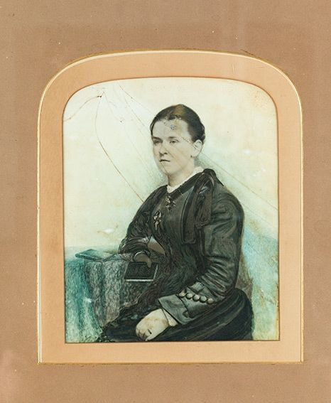 Glass painted portrait of Mary Watson (artist and date unknown), held in Queensland Museum's Collection.