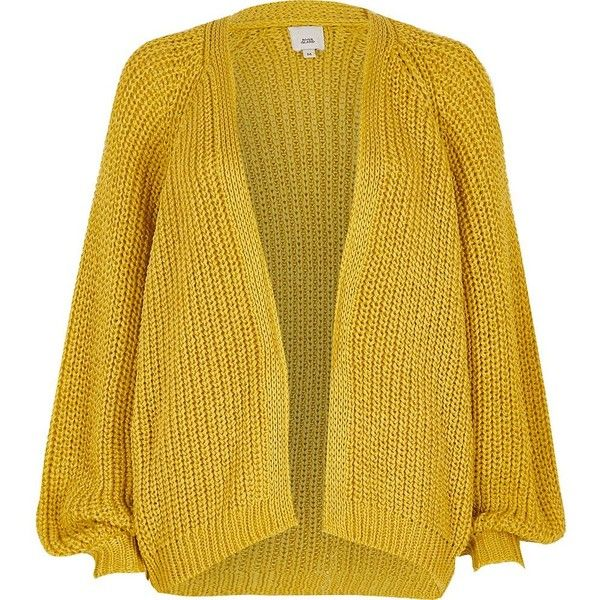 River Island Yellow chunky tape knit cardigan ($72) ❤ liked on Polyvore featuring tops, cardigans, knitwear, women, yellow, tall cardigan, chunky knitwear, tall tops, yellow long sleeve top and chunky cardigan