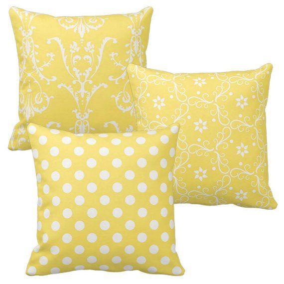 Gelbe Werfen Kissenbezuge Damast Polka Dot Floral Dekorative