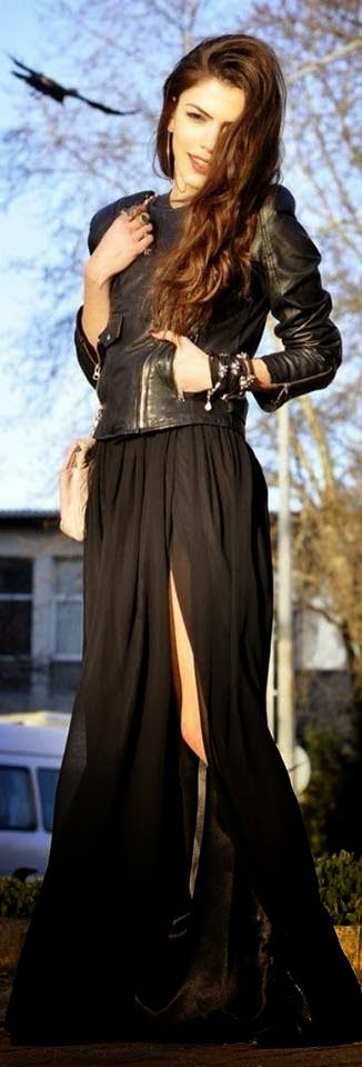 see more Amazing Black Dress and Leather Jacket