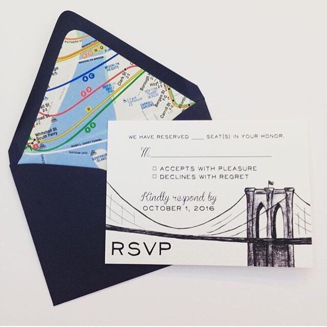 Subway Map Paper Products.Brooklyn Bridge Rsvp Card And Subway Map Lined Envelope From Devon