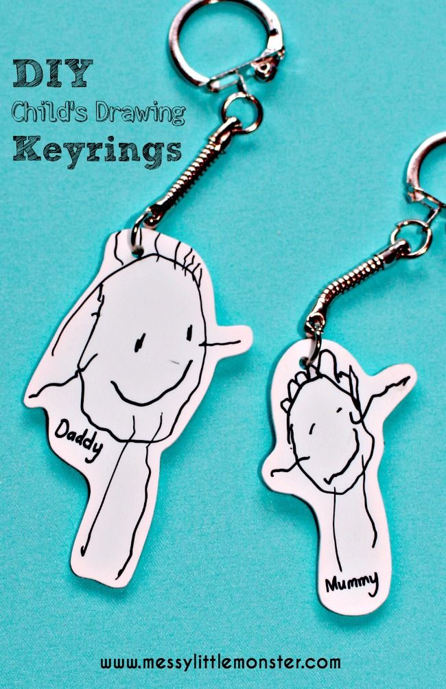 Shrinky Dinks Keyring using a child's first drawings.  A simple keepsake/ kid made gift.  Great for toddlers/ preschoolers.