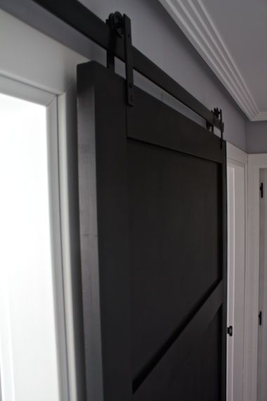 Modern sliding barn door kitchen 5 diy pinterest for Black sliding glass doors
