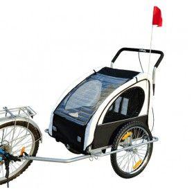 Remolque Bicicleta para Niños 2 PLAZAS con Amortiguadores Carro con Kit de Footing Color Blanco y Black