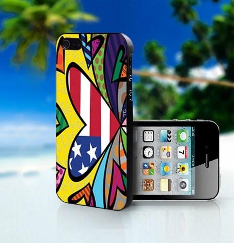 Romero Britto Love American - Photo On Hard Cover For iPhone 4,4S