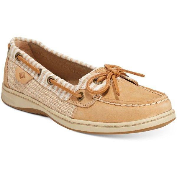 Sperry Women's Angelfish Boat Shoes ($90) ❤ liked on Polyvore featuring shoes, loafers, sand stripes, sperry top-sider shoes, sand shoes, sperry topsider, sperry shoes and preppy shoes