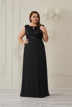 399c954247b0a Payetli Şifon Elbise Siyah