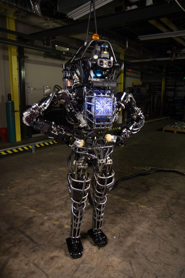 """DARPA's Atlas robot. 'Terminator' Obsession: Why So Many Robots Look Like Humans.Why not just stick to tracked and flying machines?... that answer may overstate the maneuverability of androids in a human environment.In the end, there's an element of vanity in this android business, said Rajesh Rao, a computer science and engineering professor at the University of Washington. """"We would like to fashion robotic creatures after ourselves,"""" he said."""