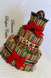 """An idea for the diaper cake... With a few little changes :) And with """"Baby Wade"""" instead of the word """"Mexico"""""""