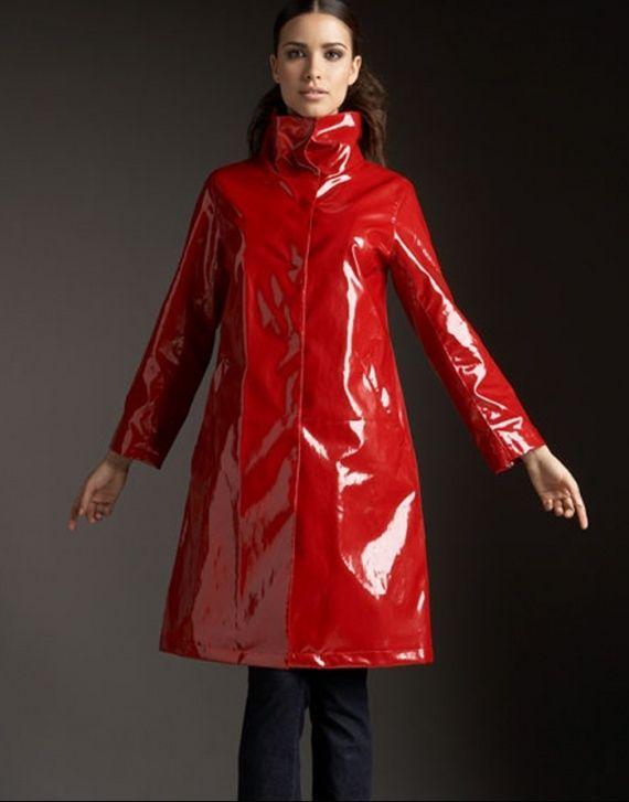 .Wonderful red raincoat
