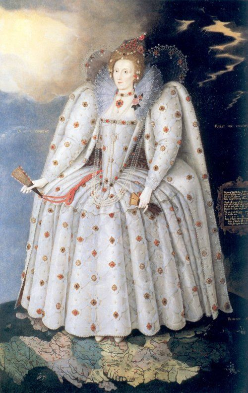 Elizabeth I: The Ditchley Portrait, c1592, by Marcus Gheeraerts the Younger. This is the largest surviving full-length portrait of Queen Elizabeth I, despite having 7.5 cm cut from each side. It is also one of the earliest works by Gheeraerts. His name may seem familiar; his father, Marcus Gheeraerts the Elder, painted the 'Peace Portrait' above. This famous work can be viewed at the NPG. There are numerous copies as well; in most, the queen's features are considerably softened.