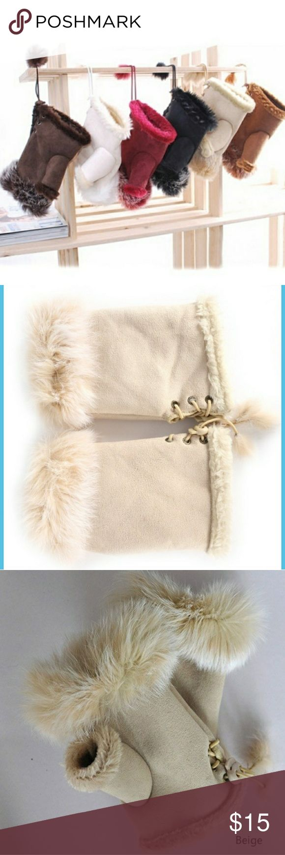 Beige Faux Fur Mittens Warm and soft fingless mittens. Adjustable on wrist. Super trendy and chic. Accessories Gloves & Mittens