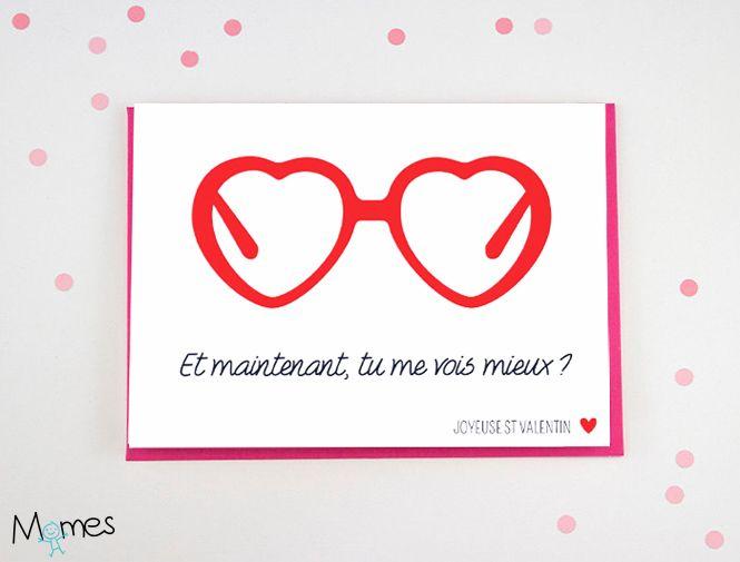 Carte Saint Valentin : les lunettes-coeurs