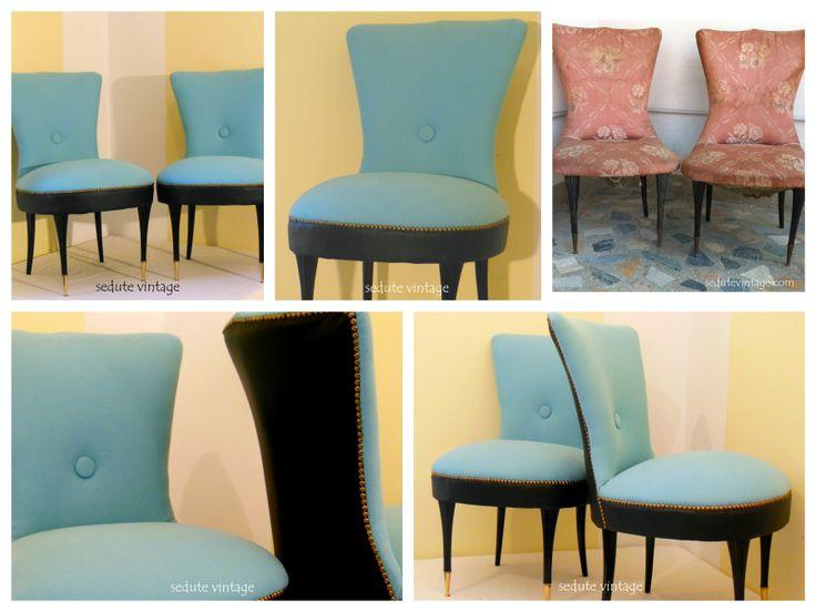 Remake of a pair of slipper chairs in velvety sky-blue fabric and eco-friendly black leather.  Coppia di poltroncine da camera in cotone felpato celeste e ecopelle nero.