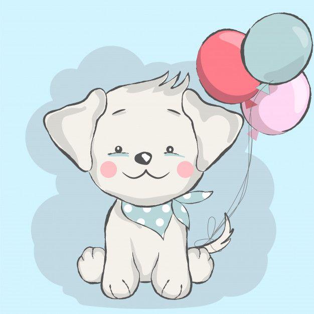 Cute Baby Dog With Balloon Cartoon Perros Y Bebes Dibujos De Perros Perros Lindos