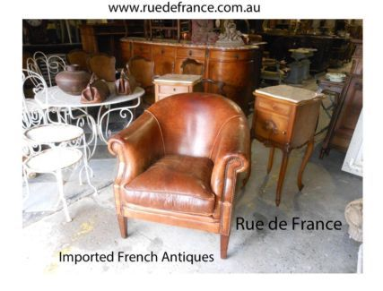 VINTAGE FRENCH ART DECO LEATHER CLUB LOUNGE CHAIR