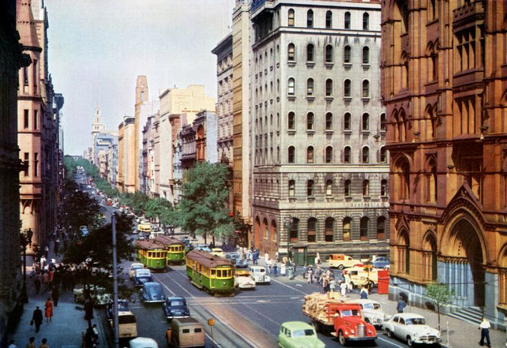 Collins St mid 1950s  Note: Most buildings still stand except the grey one on the corner of collins and Queen.
