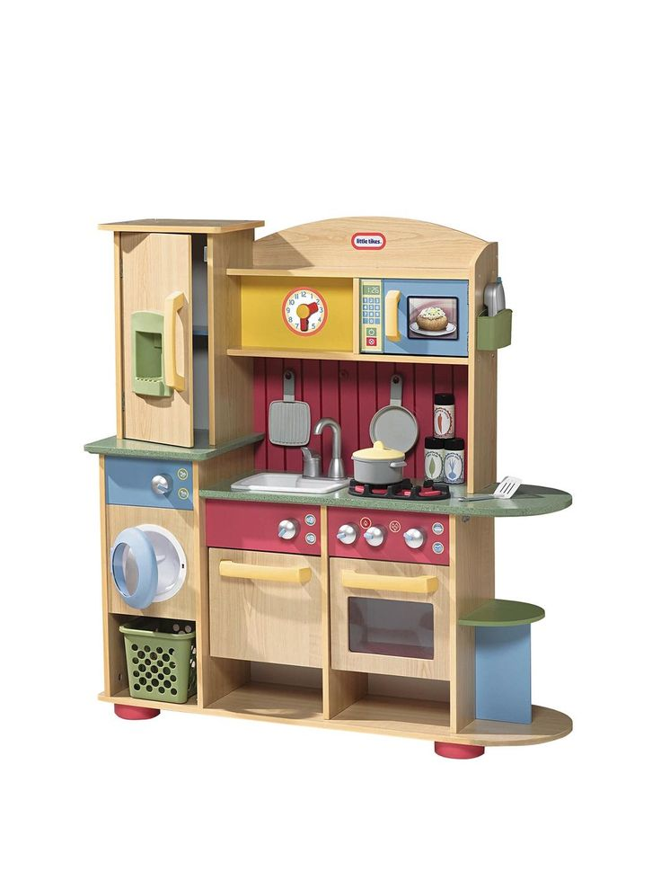 This beautifully constructed Little Tikes wooden kitchen set is guaranteed to get your child's imagination cooking. The multi-feature kitchen includes a sink, oven with hob, washing machine, dishwasher, fridge with ice dispenser, microwave, clock, plenty of storage for all their bits and bobs.Your little one will soon be presenting you with plates of carefully prepared plastic food!With so much to enjoy, there's plenty to share with friends or siblings as they enjoy hours of role-play fun…