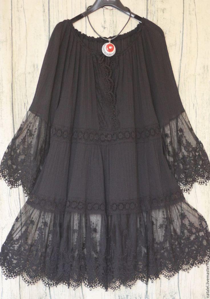 """Купить Платье-туника черная с кружевом """"Albina"""" - черный, вечернее платье, платье для отдыха"""