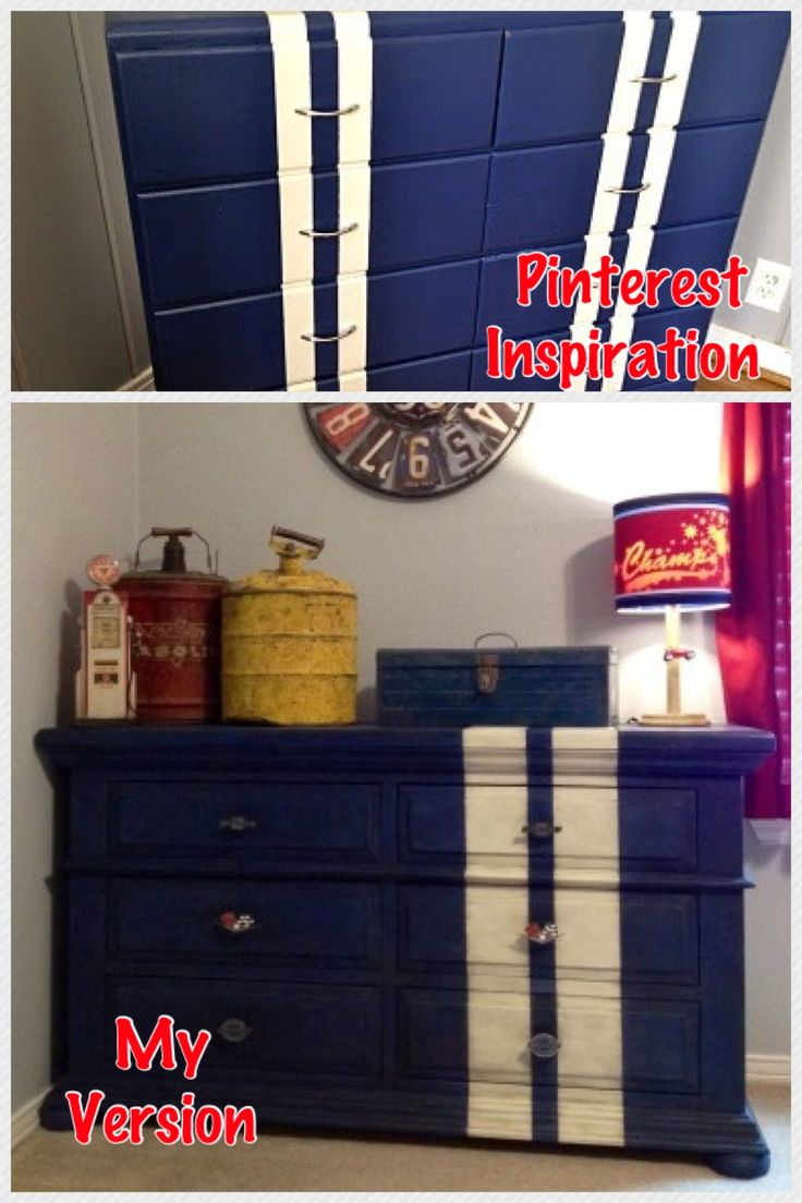 Jack's new vintage race car/old garage bedroom is coming along. Inspired by a Pinterest find, this is my version of a racing stripes dresser. www.facebook.com/M.Street.Designs