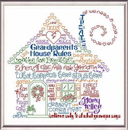Lets Have Fun At Grandmas - cross stitch pattern designed by Ursula Michael. Category: Words.