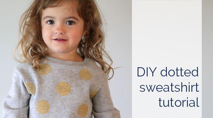 DIY gold polka dot sweatshirt tutorial