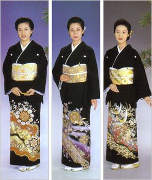 tomesode, formal wear for a married woman, for occasions like a relative's wedding (but not for a friend's wedding).